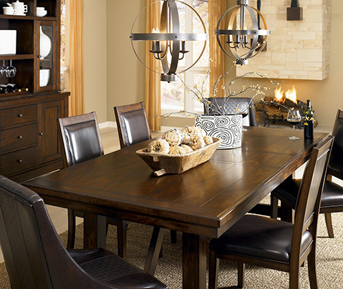 Ashley D696 45 01 Holloway 5 Piece Rectangular Dining Room Extension Table Set
