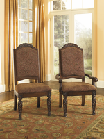 North Shore - D553-02A - Dining UPH Arm Chair (2/CN) - Dark Brown