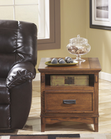 Cross Island - T719-3 - Rectangular End Table - Medium Brown