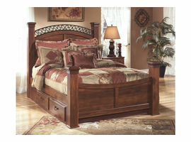ASHLEY TIMBERLINE WARM BROWN QUEEN STORAGE BED