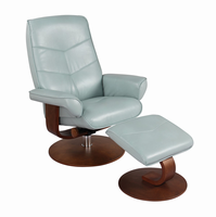 Auburn Ultra Synthetic, Pastel Blue, Swivel Recliner Chair & Ottoman
