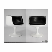 Beauty Swivel Chair High Gloss White With Black Leather