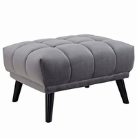 Bestow Upholstered Fabric Ottoman, Gray [FREE SHIPPING]