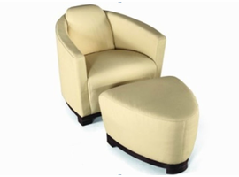 Beverly Hills  Alba Club Chair with Solid Wood Base