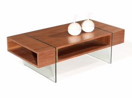 Beverly Hills Stilt Walnut High Gloss Brown Coffee Table