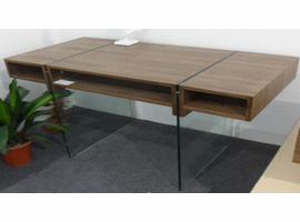 Beverly Hills Stilt Walnut High Gloss Brown Desk
