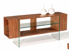 Beverly Hills Stilt Walnut High Gloss Brown TV Console