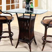"Boca Rattan Bali Bistro Table with 40"" Surfboard Bev Glass"
