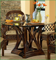 "Boca Rattan Boca Rattan Regency Dining Table with 48"" Glass Top"