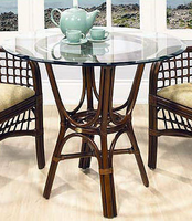 "Boca Rattan Delta Rattan Caf� Table with 36"" Dia Beveled Glass"