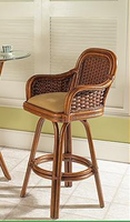 Boca Rattan Moroccan Barstool with Arms and Cushion