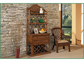 Boca Rattan Regency Rattan Bakers Rack with Wine Rack