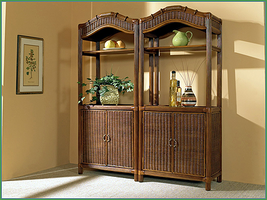 Boca Rattan Regency Rattan Etagere with Cabinet in Urban Mahogany (TV Opening)
