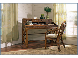 Boca Rattan Regency Rattan Writing Desk with Drawers in Royal Oak