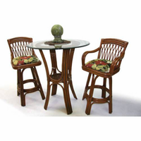 Boca Rattan St. Lucia Bar Stool in Urban Mahogany with Arms and Cushion
