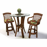 Boca Rattan St. Lucia Bar Stool in Urban Mahogany without Arms