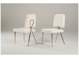 Candace - Modern White Faux Fur Dining Chair (Set of 2)