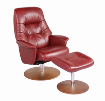 Carter Ultra Synthetic, Color Ruby, Swivel Recliner Chair & Ottoman