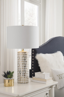 Ashley Express Furniture - Alejandra - L100534 - Ceramic Table Lamp (1/CN), Gold Finish/White