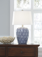 Ashley Express Furniture - Malini - L100624 - Ceramic Table Lamp (1/CN), White/Blue