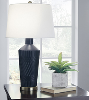Ashley Express Furniture - Leroi - L100604 - Ceramic Table Lamp (2/CN), Blue