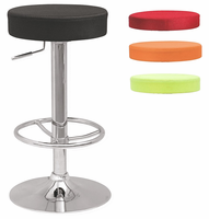 Chintaly Backless Pneumatic Gas Lift Adjustable Stool w/3 Extra Slip Cover Colors - Black/Raspberry/Lime/Orange Chrome - 0327-AS
