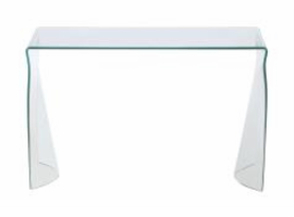 Chintaly Bent Glass Sofa Table - Clear Glass - 6004-ST