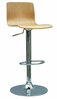 Chintaly Bent Wood Pneumatic Gas Lift Adjustable Height Swivel Stool - White Oak / Chrome - 0353-AS