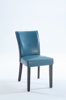Chintaly Bonded Leather Parsons Chair - Satin Black Finish BLU - MICHELLE-PRS-SC-BLU