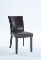 Chintaly Bonded Leather Parsons Chair - Satin Black Finish BRW - MICHELLE-PRS-SC-BRW