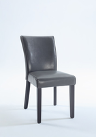 Chintaly Bonded Leather Parsons Chair - Satin Black Finish GRY - MICHELLE-PRS-SC-GRY