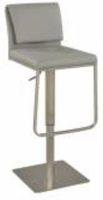 Chintaly Contemporary Pneumatic Stool - Brushed SS Finish(0893) - 0893-AS-GRY