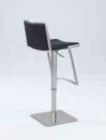 Chintaly Contemporary Pneumatic Stool - Brushed SS Finish(0894) - 0894-AS-BLK