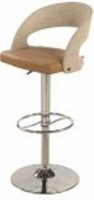 Chintaly Curved Round Back Pneumatic Stool - Chrome/ Beige - 1391-AS-TPE