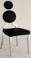 Chintaly Double Ring Back Side Chair - Chrome Finish(BLK) - OPRAH-SC-BLK