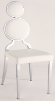 Chintaly Double Ring Back Side Chair - Chrome Finish(WHT) - OPRAH-SC-WHT