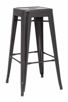 Chintaly Galvanized Steel Bar Stool - Black Finish(8015) - 8015-BS-BLK