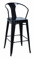 Chintaly Galvanized Steel Bar Stool - Black Finish(8020) - 8020-BS-BLK