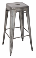 Chintaly Galvanized Steel Bar Stool - Gun Metal Finish(8015) - 8015-BS-GUN