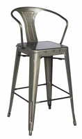 Chintaly Galvanized Steel Bar Stool - Gun Metal Finish(8020) - 8020-BS-GUN