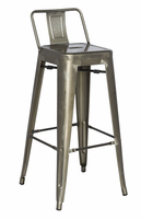 Chintaly Galvanized Steel Bar Stool - Gun Metal Finish(8030) - 8030-BS-GUN