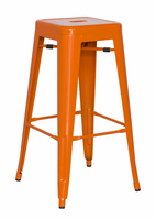 Chintaly Galvanized Steel Bar Stool - Orange - 8015-BS-ORG