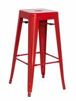 Chintaly Galvanized Steel Bar Stool - Red - 8015-BS-RED
