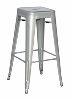 Chintaly Galvanized Steel Bar Stool - Shiny Silver - 8015-BS-SLV