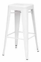 Chintaly Galvanized Steel Bar Stool - White - 8015-BS-WHT