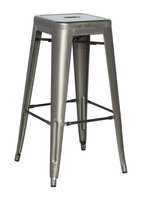 Chintaly Galvanized Steel Counter Stool - Gun Metal - 8015-CS-GUN