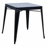 Chintaly Galvanized Steel Dining Table - Black - 8029-DT-BLK
