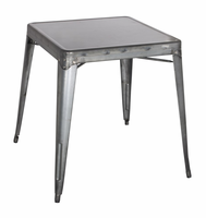 Chintaly Galvanized Steel Dining Table - Gun Metal - 8029-DT-GUN