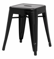 Chintaly Galvanized Steel Side Chair - Black Finish(8018) - 8018-SC-BLK