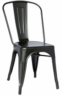 Chintaly Galvanized Steel Side Chair - Black Finish(8022) - 8022-SC-BLK